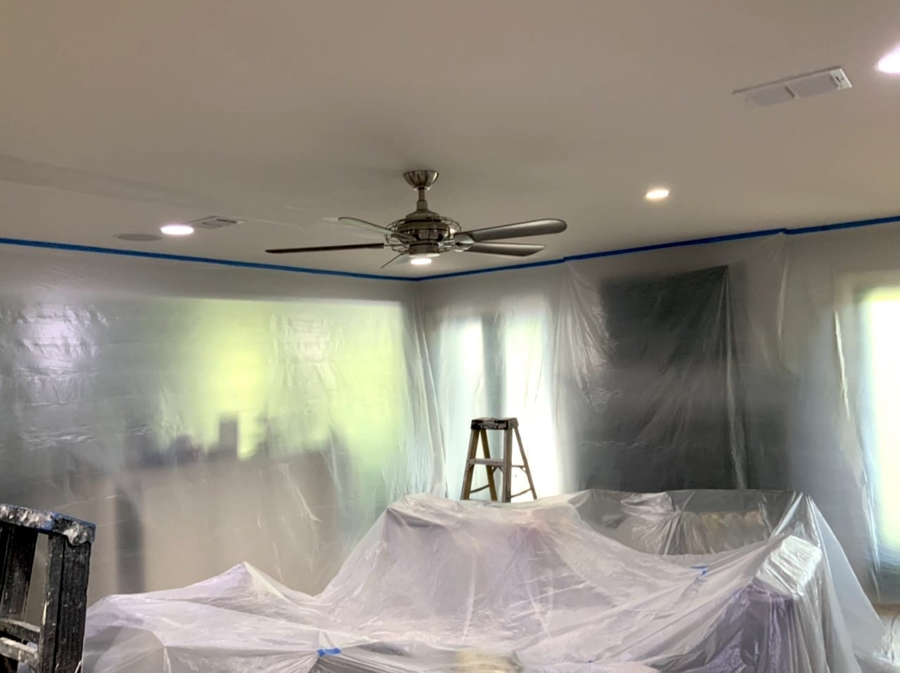 masking for popcorn ceiling removal