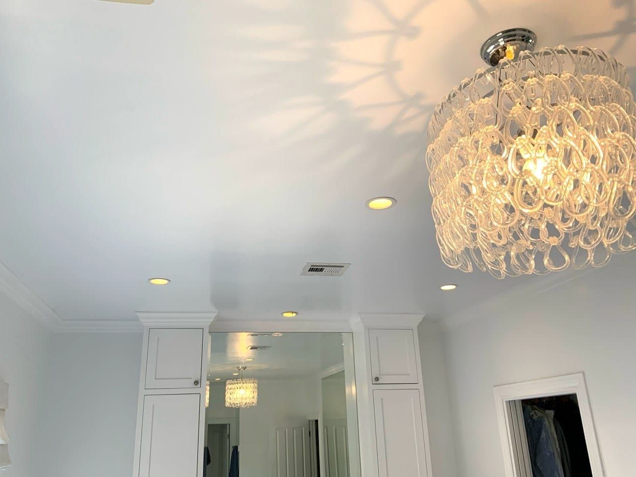 new ceiling texture - living with chandelier