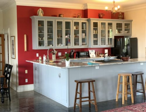 Spraying Kitchen Cabinets – Red Kitchen With Gray Painted Cabinets
