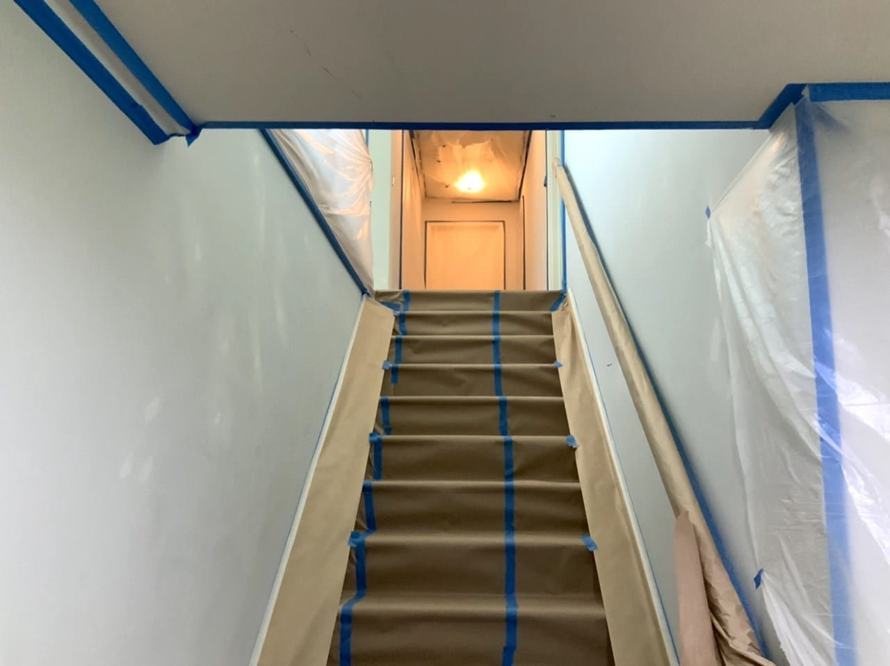 staircase masked for painting