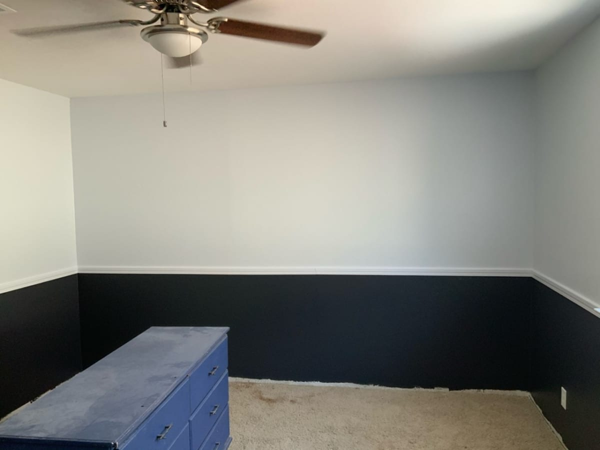 two tone bedroom with chair rail